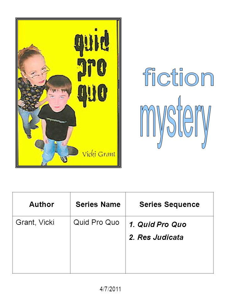 fiction mystery Author Series Name Series Sequence Grant, Vicki