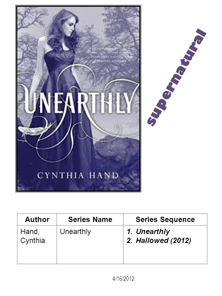 supernatural Author Series Name Series Sequence Hand, Cynthia