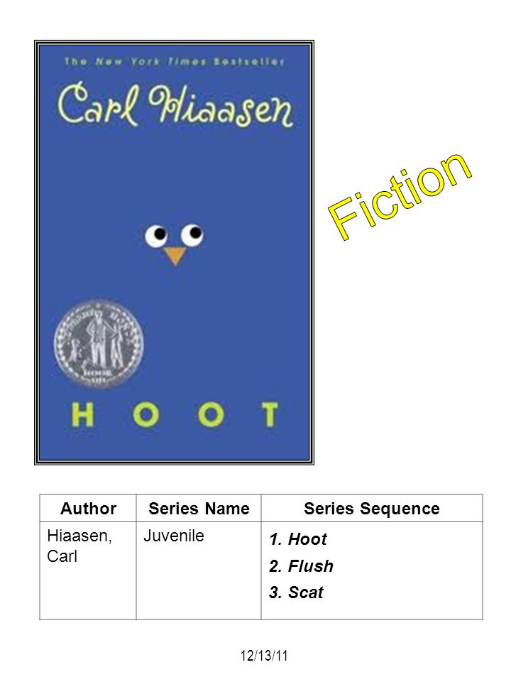 Fiction Author Series Name Series Sequence Hiaasen, Carl Juvenile Hoot