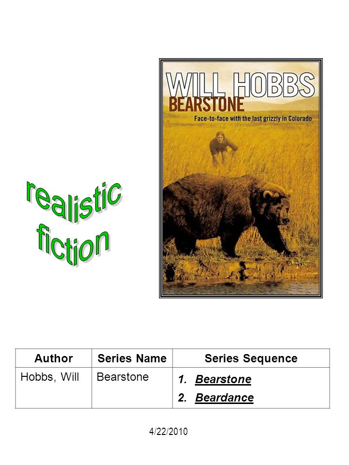 realistic fiction Author Series Name Series Sequence Hobbs, Will
