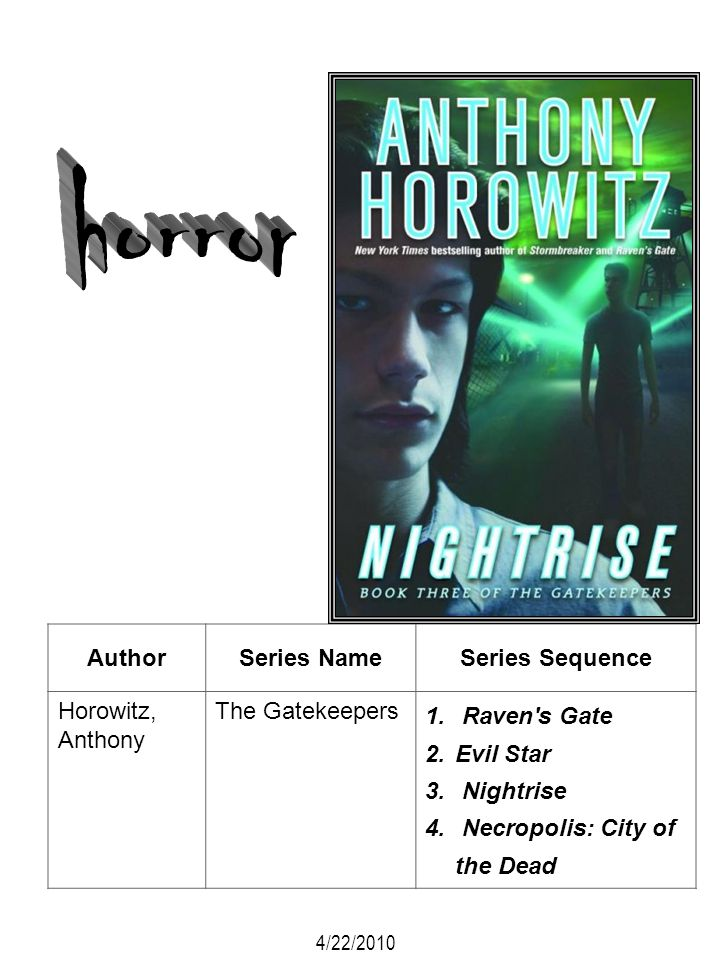 horror Author Series Name Series Sequence Horowitz, Anthony