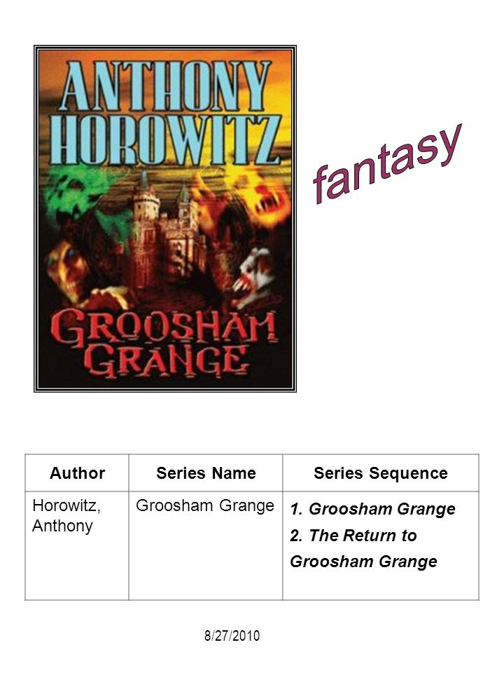 fantasy Author Series Name Series Sequence Horowitz, Anthony
