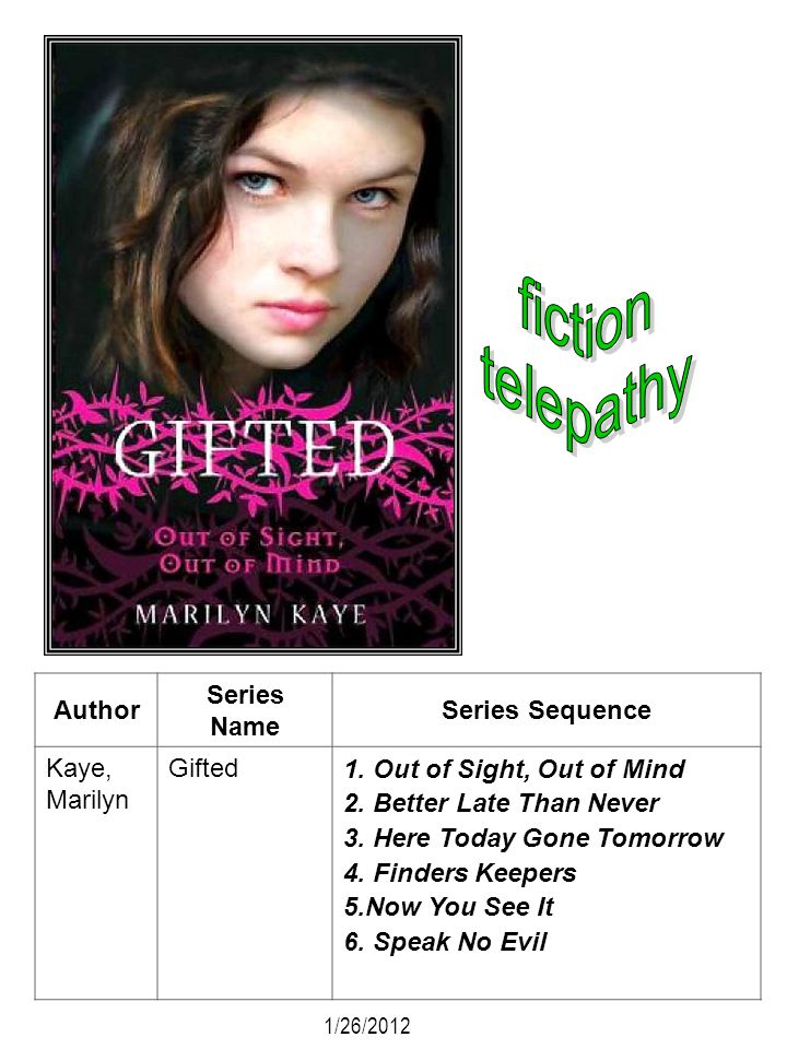 fiction telepathy Author Series Name Series Sequence Kaye, Marilyn