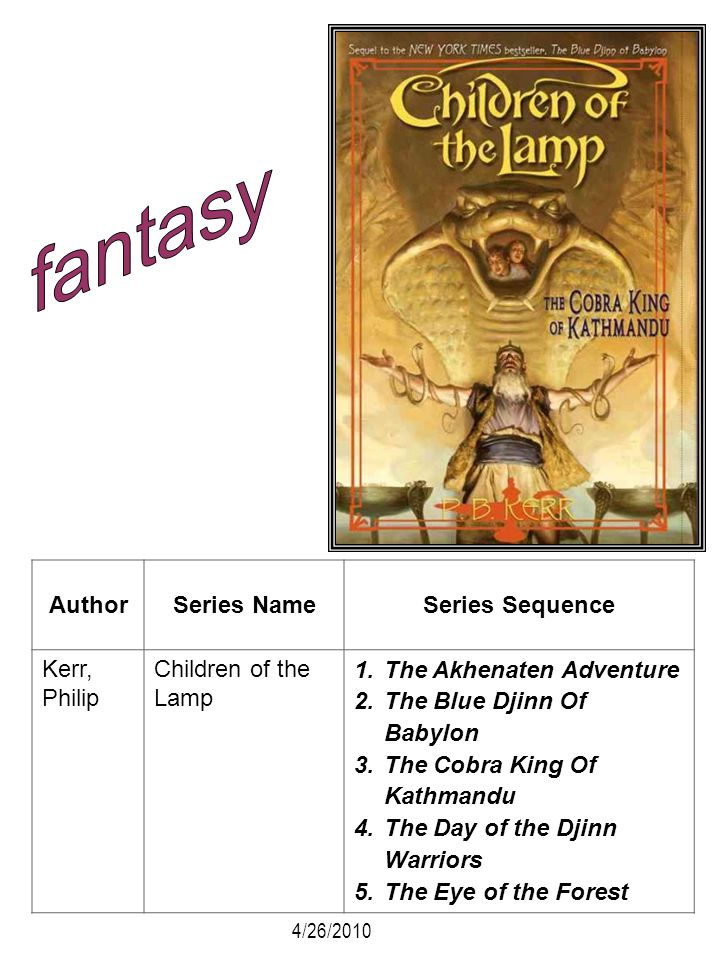 fantasy Author Series Name Series Sequence Kerr, Philip