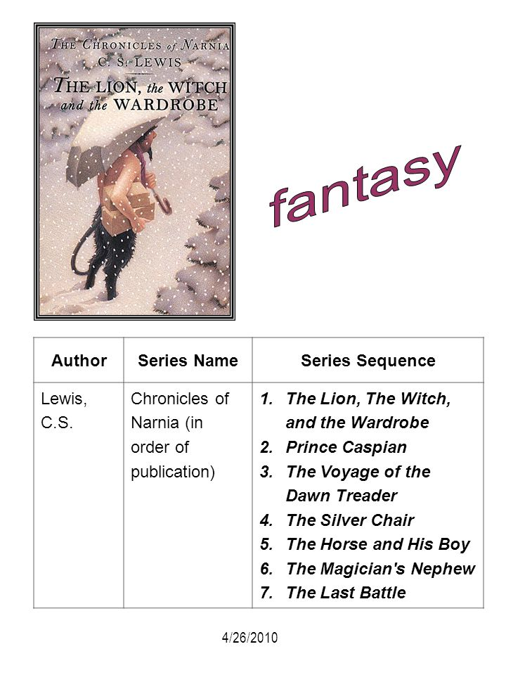 fantasy Author Series Name Series Sequence Lewis, C.S.