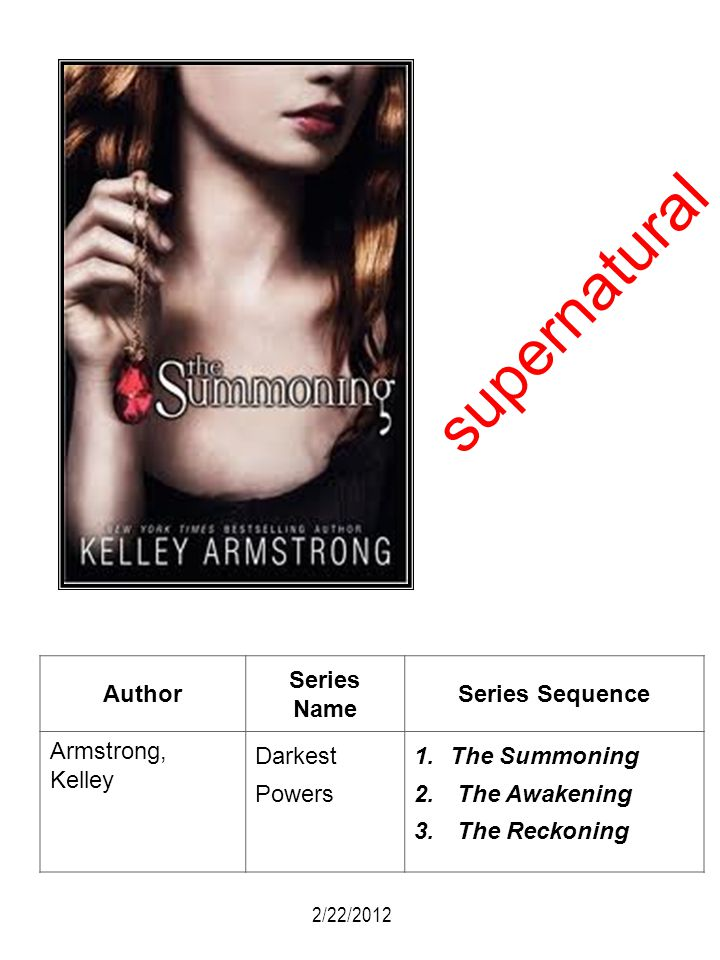 supernatural Author Series Name Series Sequence Armstrong, Kelley