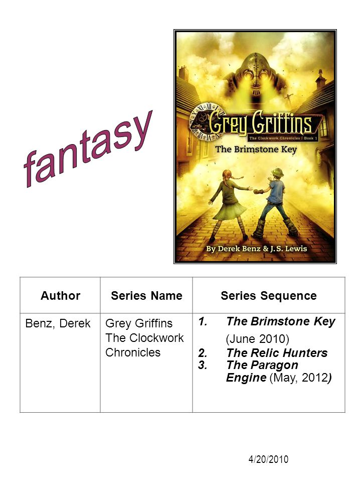 fantasy Author Series Name Series Sequence Benz, Derek