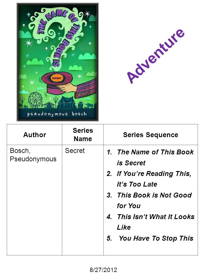 Adventure Author Series Name Series Sequence Bosch, Pseudonymous