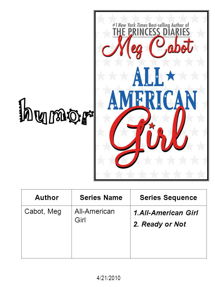 humor Author Series Name Series Sequence Cabot, Meg All-American Girl