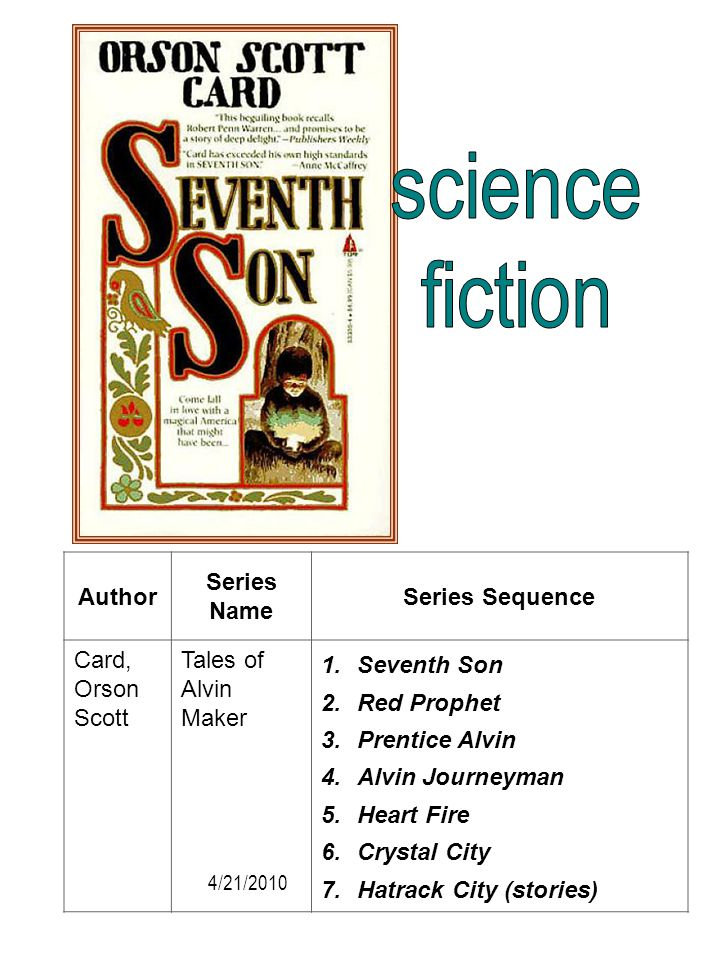 science fiction Author Series Name Series Sequence Card, Orson Scott