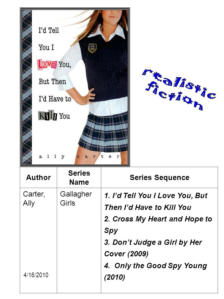 realistic fiction Author Series Name Series Sequence Carter, Ally