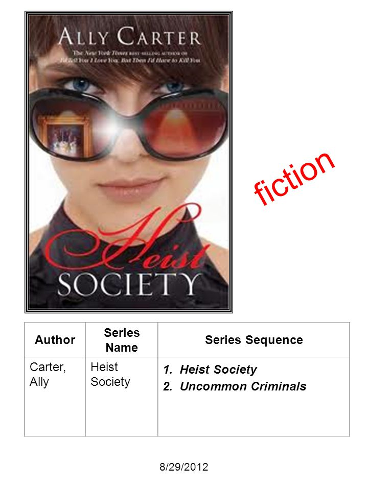 fiction Author Series Name Series Sequence Carter, Ally Heist Society