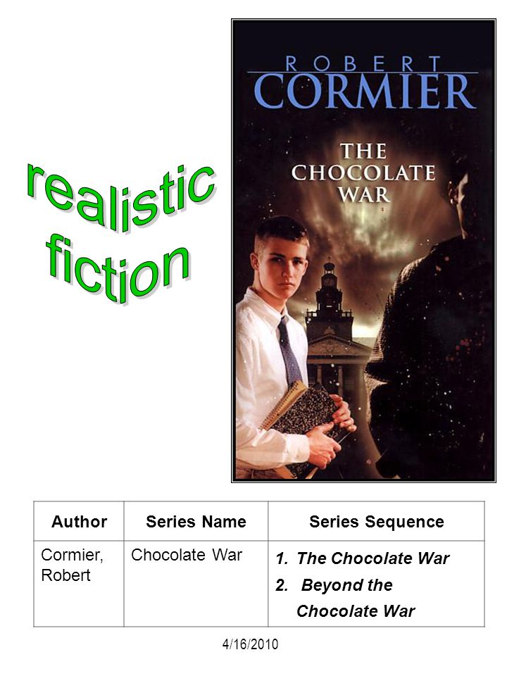 realistic fiction Author Series Name Series Sequence Cormier, Robert
