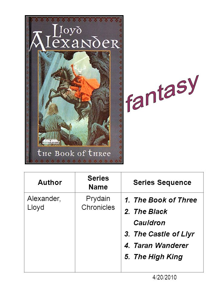 fantasy Author Series Name Series Sequence Alexander, Lloyd