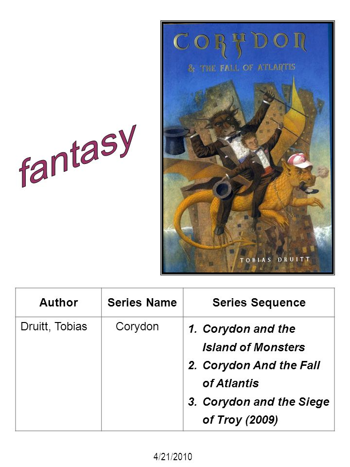 fantasy Author Series Name Series Sequence Druitt, Tobias Corydon