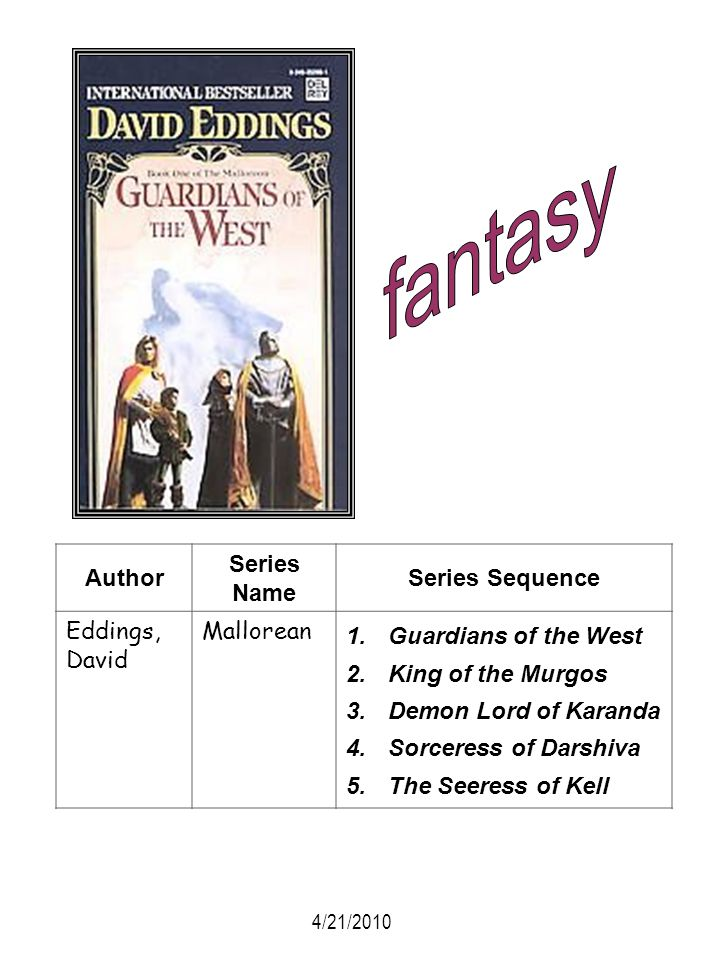fantasy Author Series Name Series Sequence Eddings, David Mallorean