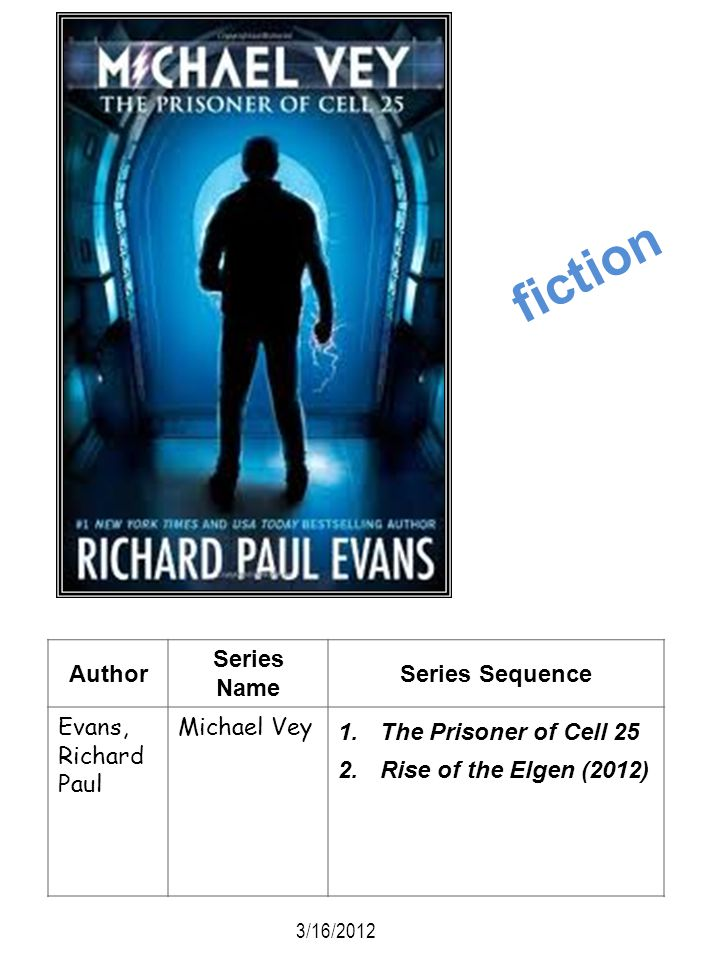 fiction Author Series Name Series Sequence Evans, Richard Paul
