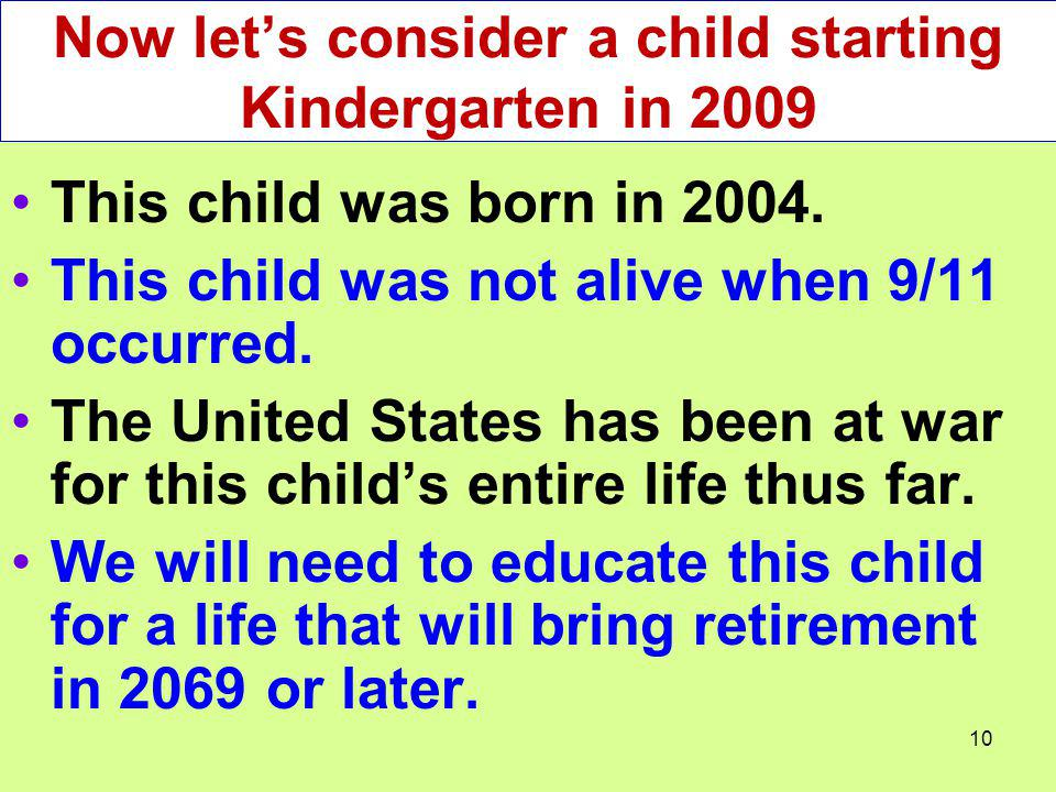 Now let's consider a child starting Kindergarten in 2009