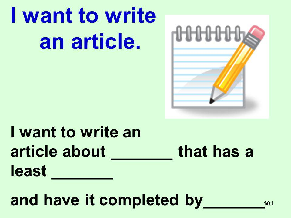 I want to write an article.