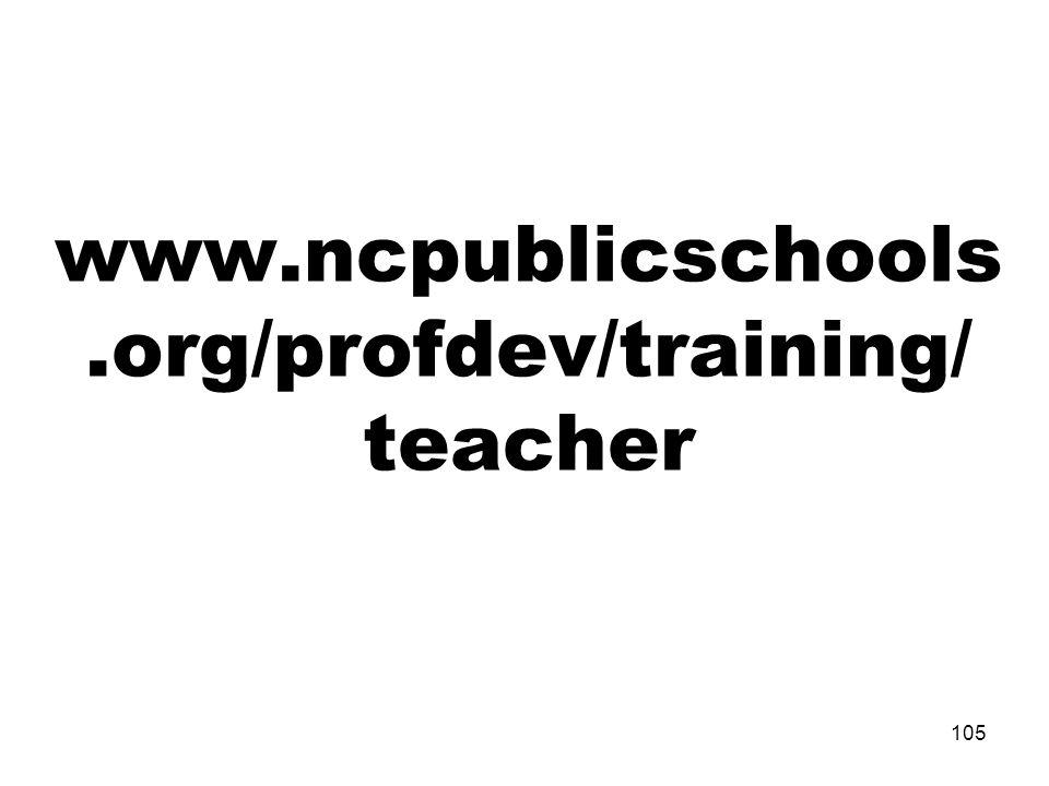 www.ncpublicschools.org/profdev/training/ teacher