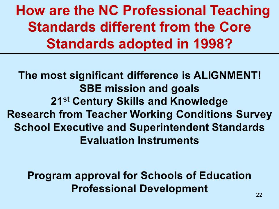 How are the NC Professional Teaching Standards different from the Core Standards adopted in 1998