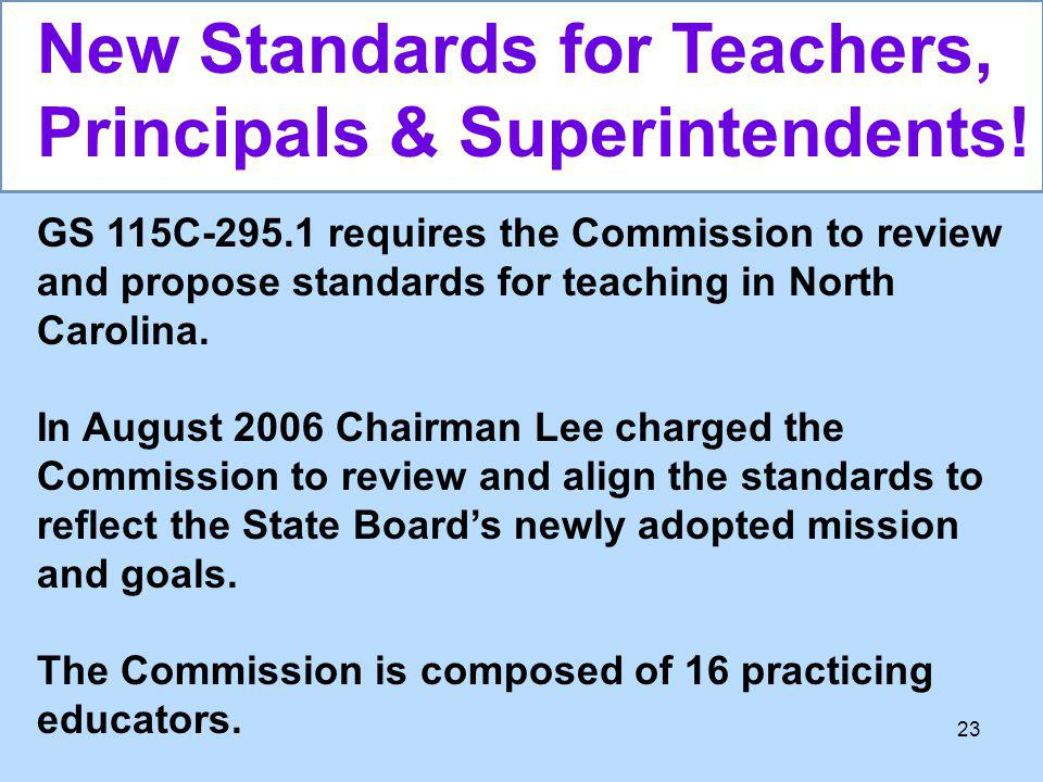 New Standards for Teachers, Principals & Superintendents!