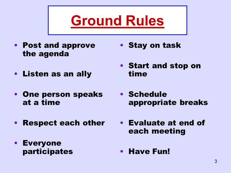 Ground Rules Post and approve the agenda Listen as an ally
