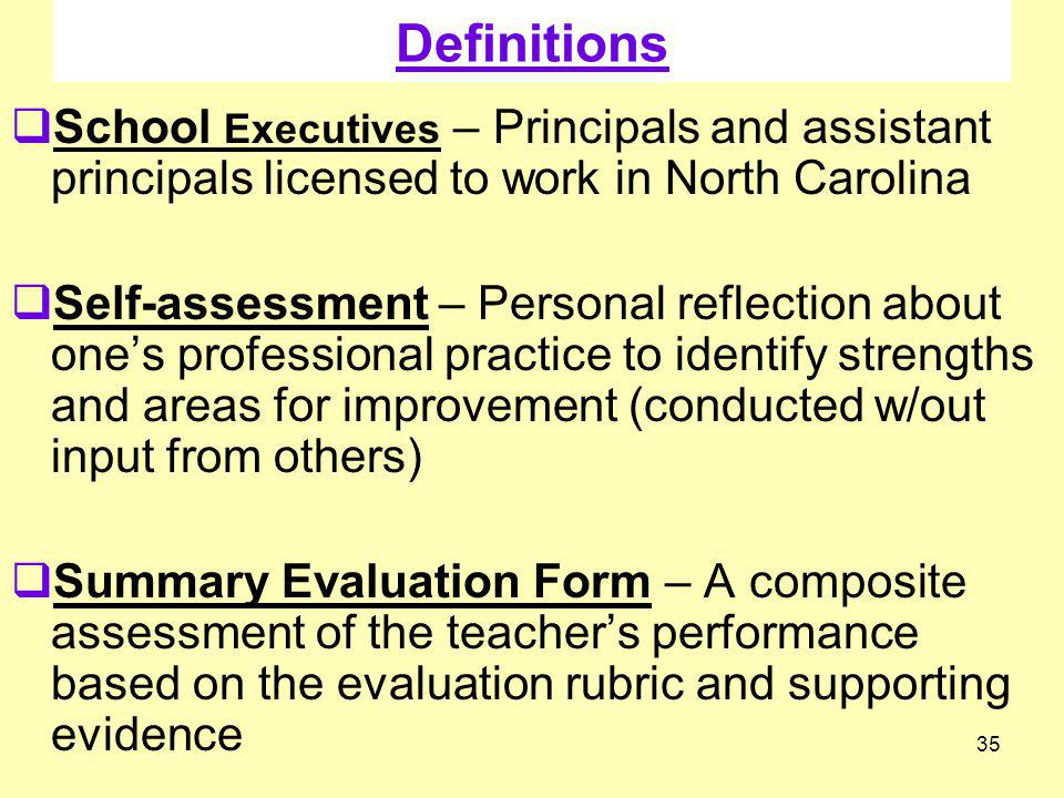 Definitions School Executives – Principals and assistant principals licensed to work in North Carolina.
