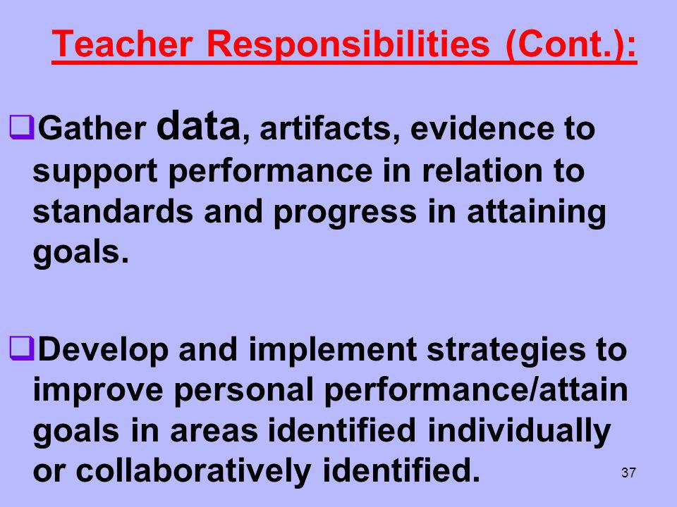 Teacher Responsibilities (Cont.):