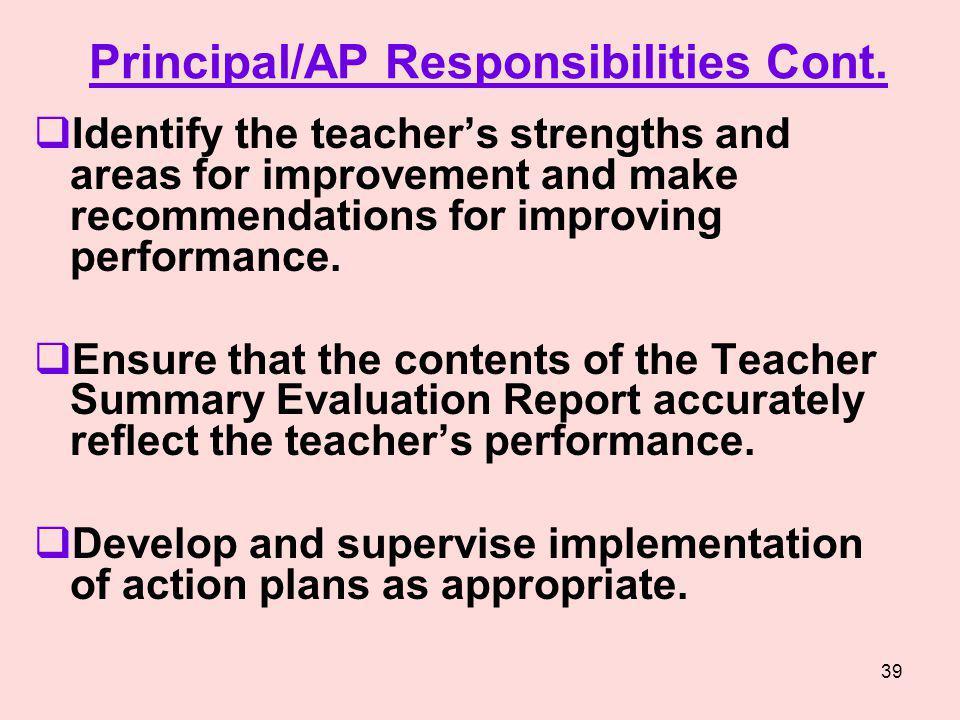 Principal/AP Responsibilities Cont.