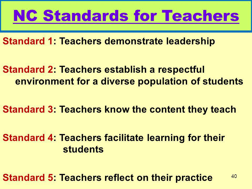 NC Standards for Teachers