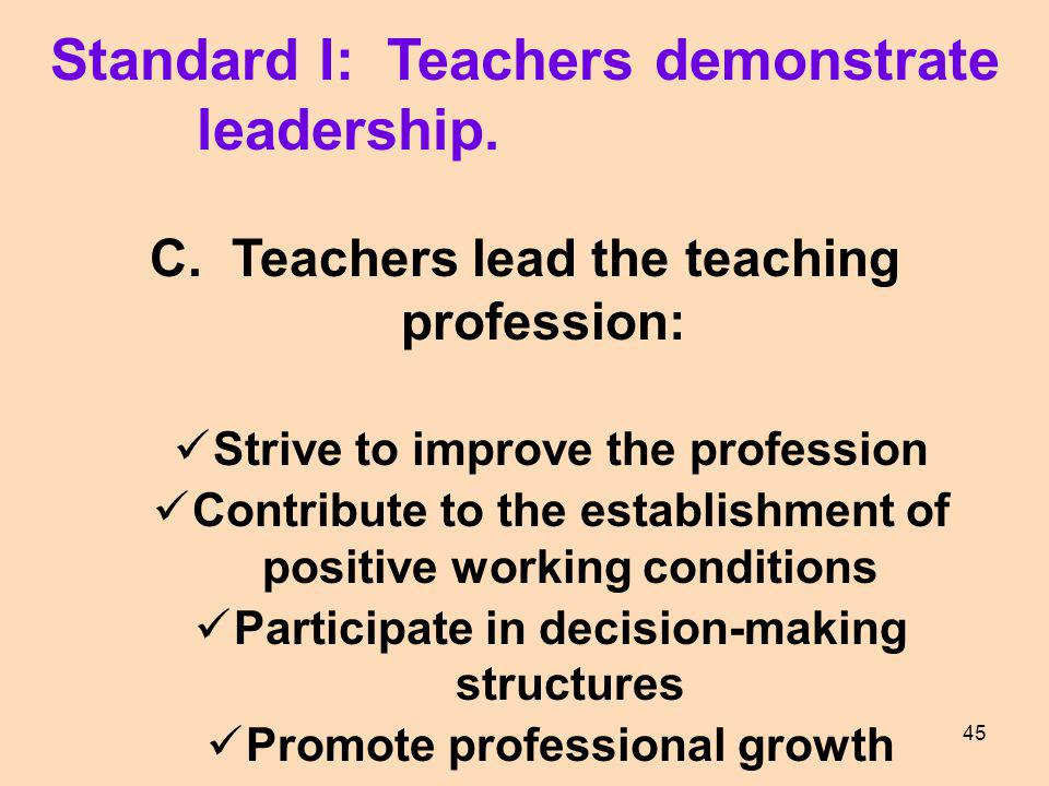 Standard I: Teachers demonstrate leadership.