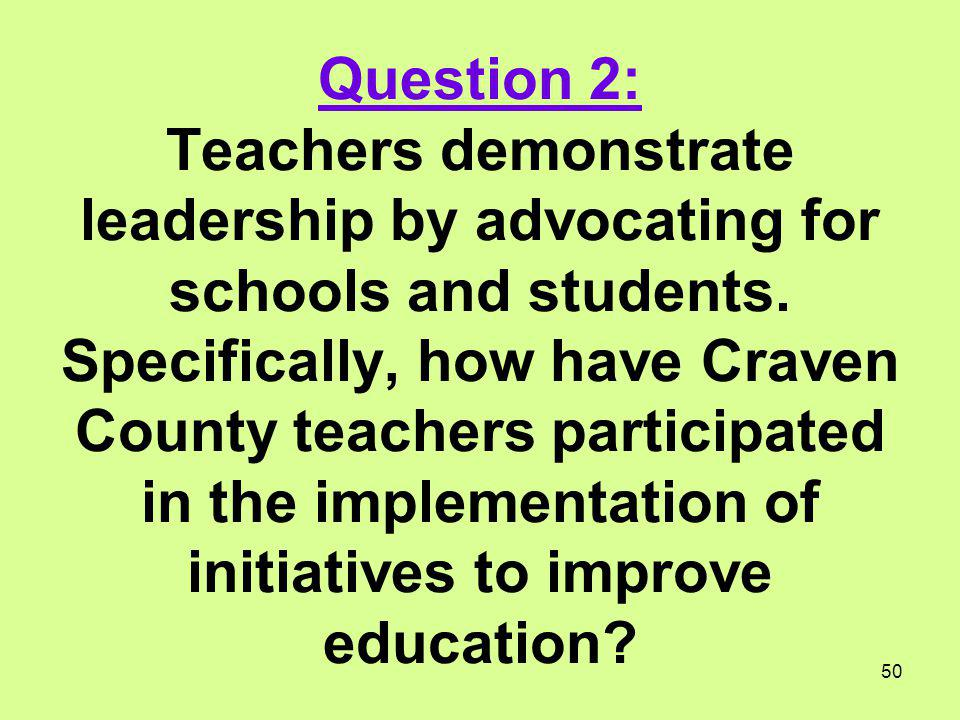 Question 2: Teachers demonstrate leadership by advocating for schools and students.