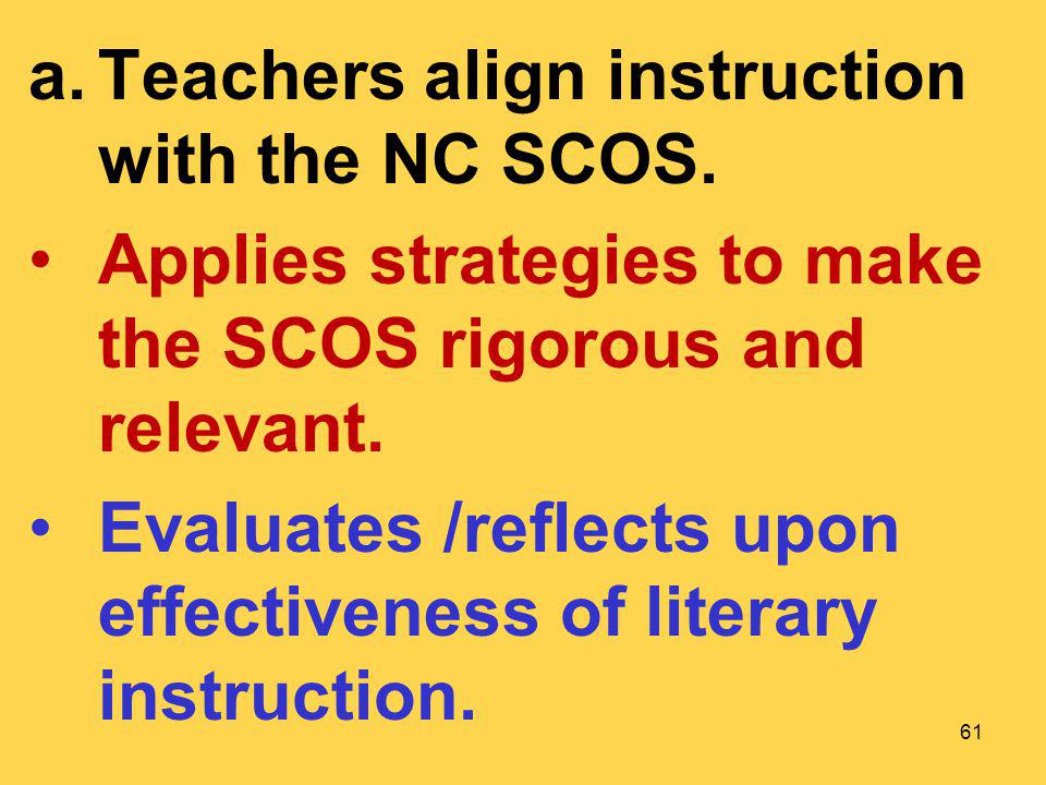 Teachers align instruction with the NC SCOS.