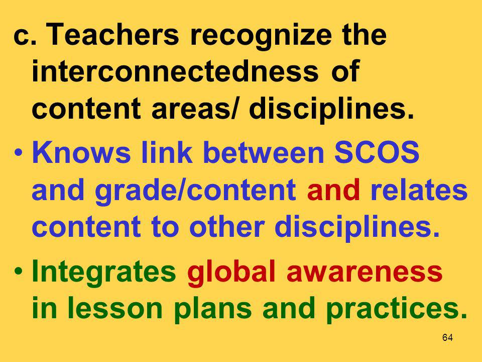 Integrates global awareness in lesson plans and practices.