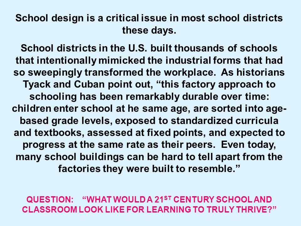 School design is a critical issue in most school districts these days.