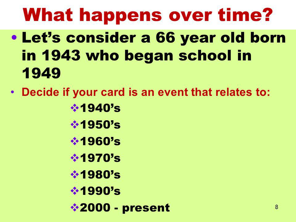 What happens over time Let's consider a 66 year old born in 1943 who began school in 1949. Decide if your card is an event that relates to: