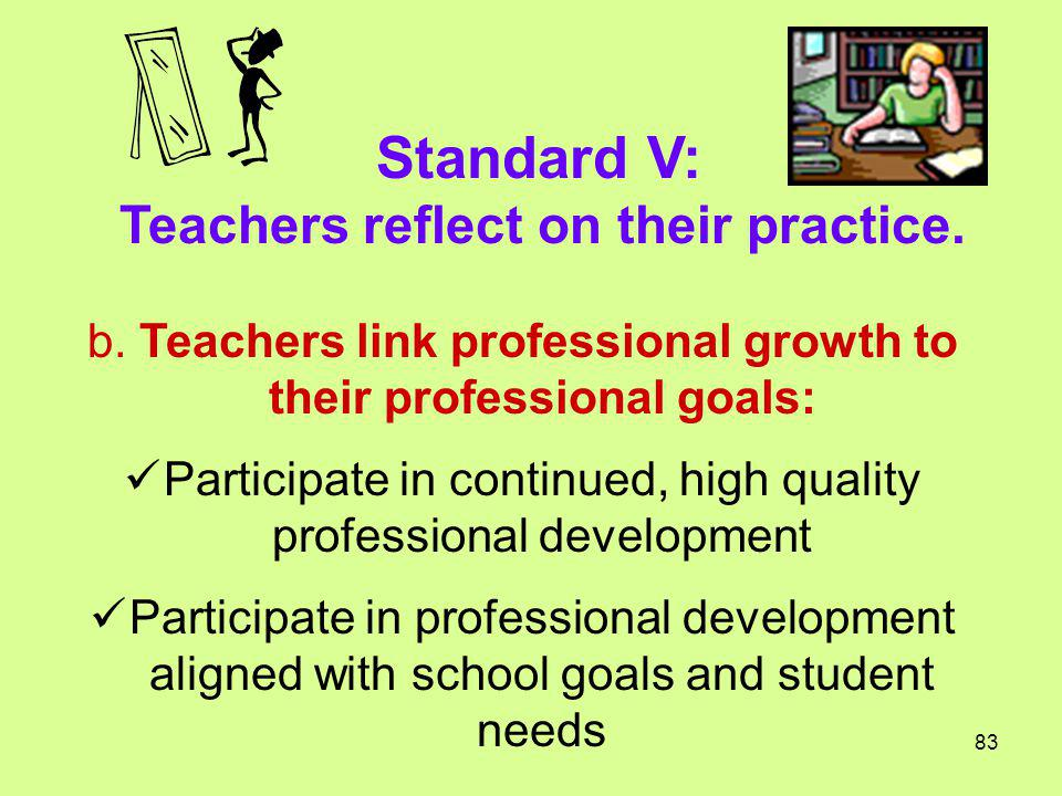 Standard V: Teachers reflect on their practice.