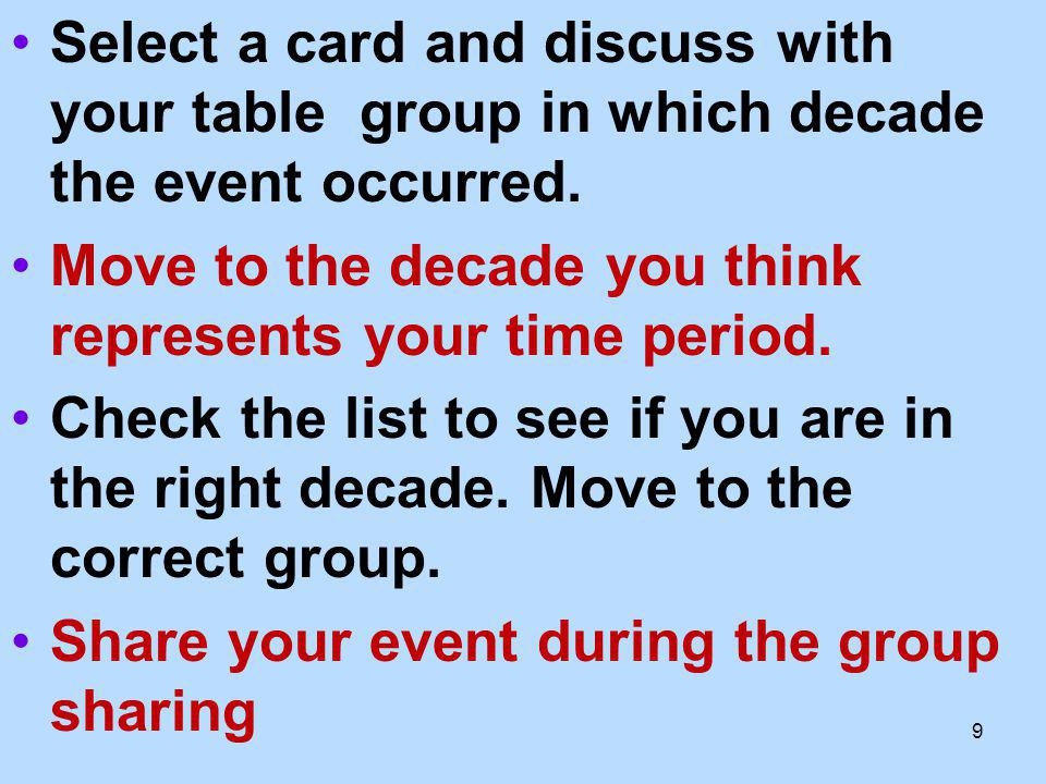 Select a card and discuss with your table group in which decade the event occurred.