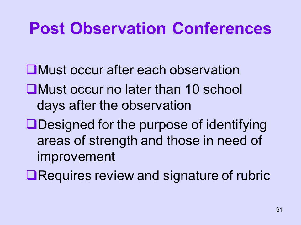 Post Observation Conferences