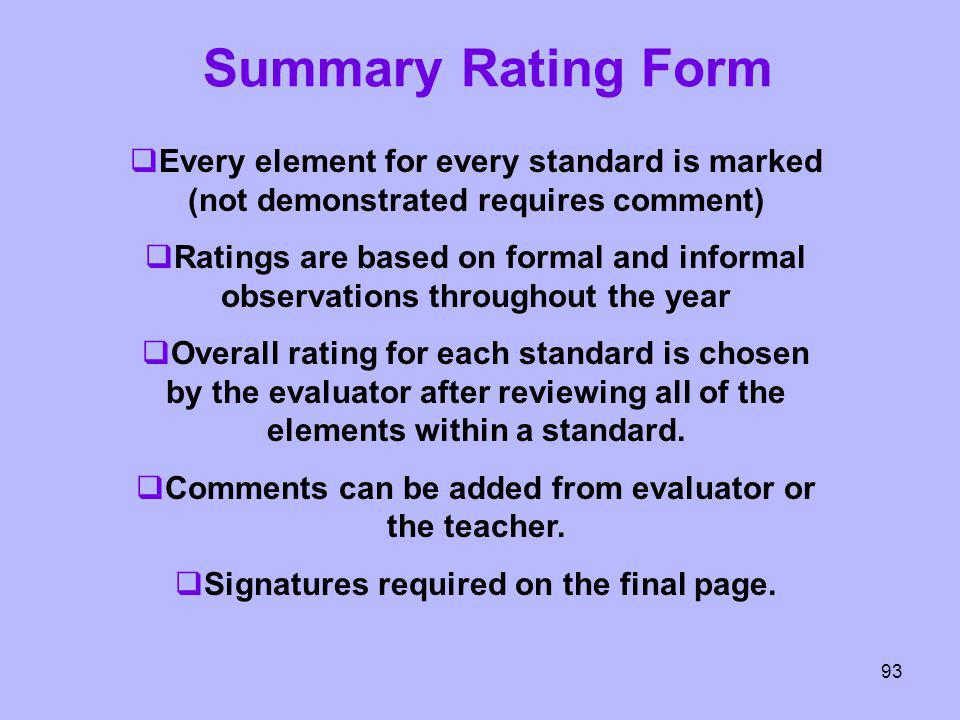 Summary Rating Form Every element for every standard is marked (not demonstrated requires comment)