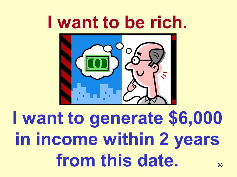 I want to generate $6,000 in income within 2 years from this date.