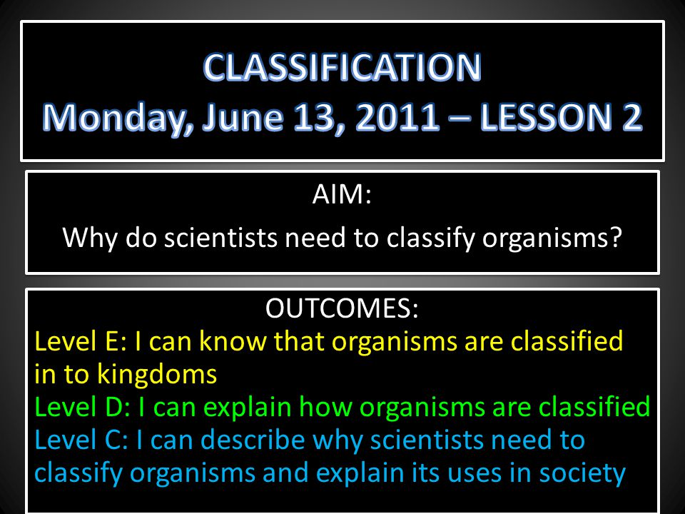 CLASSIFICATION Monday, June 13, 2011 – LESSON 2