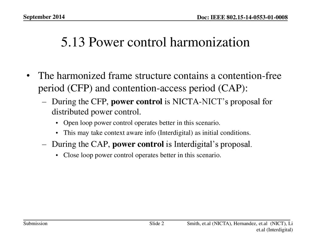 5.13 Power control harmonization
