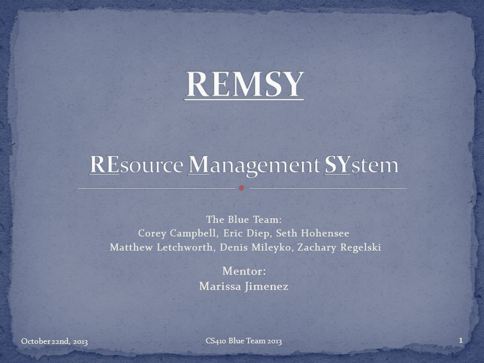 REMSY REsource Management SYstem