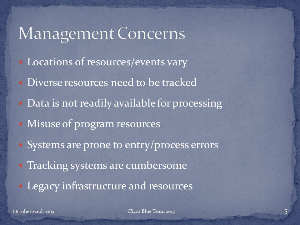 Management Concerns Locations of resources/events vary