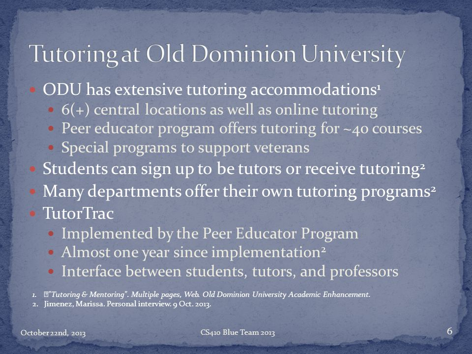 Tutoring at Old Dominion University