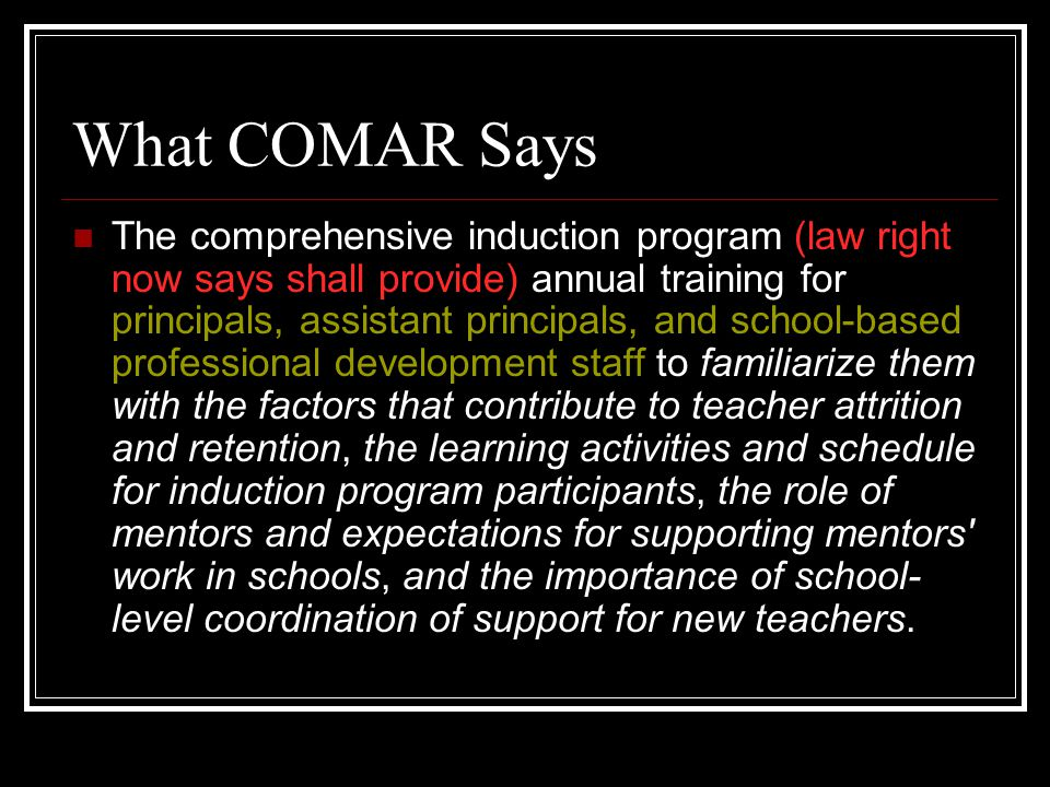 What COMAR Says