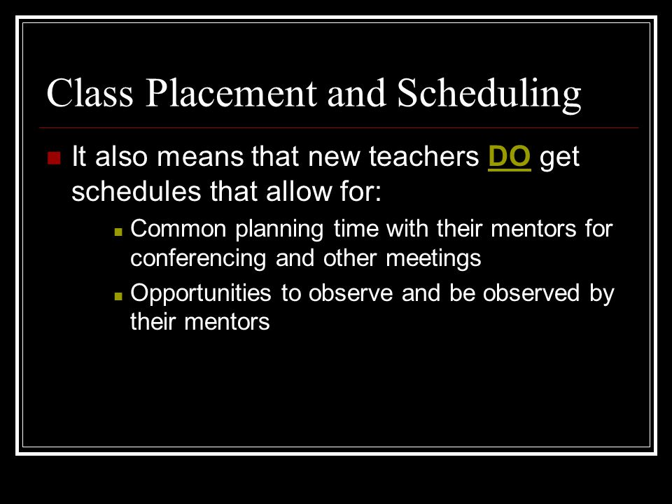 Class Placement and Scheduling