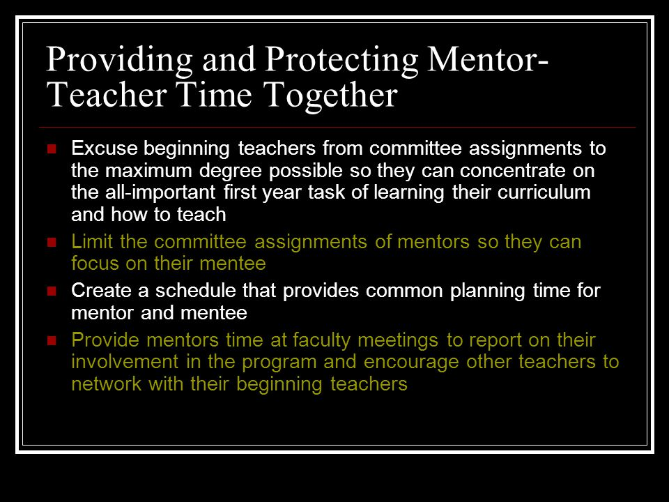 Providing and Protecting Mentor-Teacher Time Together
